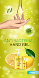 Lemon flavor Antibacterial hand gel ads. Vector Illustration with antiseptic hand gel in bottles and lemon elements. Vertical banner Stock Photo