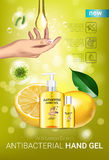 Lemon flavor Antibacterial hand gel ads. Vector Illustration with antiseptic hand gel in bottles and lemon elements. Vertical poster Royalty Free Stock Photos