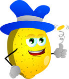 Lemon flipping a coin Royalty Free Stock Image
