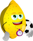 Lemon with football or soccer ball Royalty Free Stock Photography