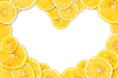 Lemon in the form of heart Stock Images