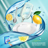 Lemon fragrance dishwasher detergent tabs ads. Vector realistic Illustration with dishes in water splash and citrus fruits. Poster Stock Photography