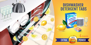 Lemon fragrance dishwasher detergent tabs ads. Vector realistic Illustration with dishwasher in kitchen counter and detergent pack Stock Photos