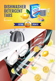 Lemon fragrance dishwasher detergent tabs ads. Vector realistic Illustration with dishwasher in kitchen counter and detergent pack Royalty Free Stock Photos