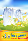 Lemon fragrance fabric softener gel ads. Vector realistic Illustration with laundry clothes and softener rinse container. Vertical. Vector realistic Illustration Stock Photography