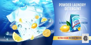 Lemon fragrance Laundry detergent ads. Vector realistic Illustration with t-shirt is washed in water and product package. Horizont. Vector realistic Illustration royalty free illustration