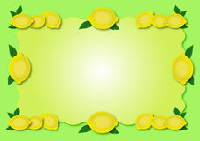 Lemon frame. Yellow lemon frame  illustration of fruits Royalty Free Stock Photography