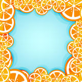 Lemon frame with blue background Royalty Free Stock Photography