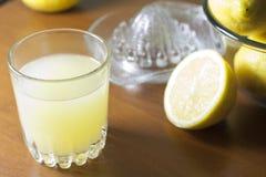 Lemon fresh juice with squeezer Stock Photos