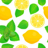 Lemon and Fresh mint leaves theme. Seamless pattern vector Royalty Free Stock Photos