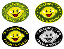 Lemon Fresh & Natural Seal. Funny smiling Lemmon in 100% Lemmon juice label Stock Image