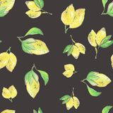 Lemon freshness seamless pattern, watercolor illustration. For packaging or design stock illustration