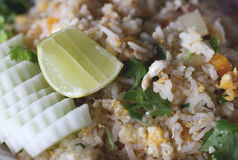 Lemon on fried rice with crab. Stock Photography