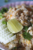 Lemon on fried rice with crab. Royalty Free Stock Photos