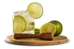 Lemon Fruit Caipirinha of Brazil on white background Royalty Free Stock Photo