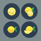 Lemon. Fruit. Flat icons. Vector illustration Stock Photos