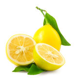 Lemon. Fruit with half and leaves isolated on white Stock Image