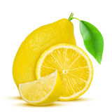 Lemon. Fruit with half and leaves  on white Stock Photo