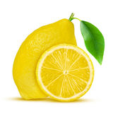 Lemon. Fruit with half and leaves  on white Royalty Free Stock Photography