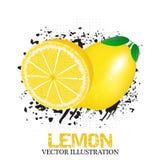 Lemon fruit  illustration with grunge and halftone effect Royalty Free Stock Images