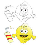 Lemon fruit & juice. Hand drawn cartoon character of lemon fruit with juice. The black and white version is useful for coloring book pages for kids Royalty Free Stock Photo