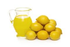Lemon Fruit Juice In Glass Jug Stock Images