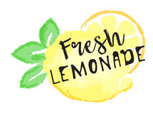 Lemon fruit label and sticker - Fresh Lemonade. Vector illustration in watercolor style, for graphic and web design Stock Photo