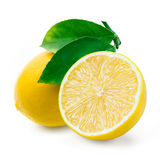 Lemon. Fruit with leaves on white. Royalty Free Stock Photography