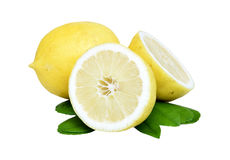 Lemon. Fruit with leaves on a white background. Stock Photos