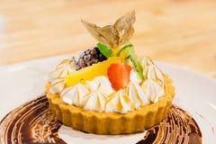 Lemon fruit pie. On white plate stock photo