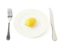 Lemon fruit in a plate isolated Stock Photography