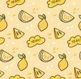Lemon fruit seamless pattern in kawaii style vector stock illustration