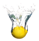Lemon fruit splashing in water Royalty Free Stock Photography