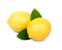 Lemon fruit  on white Stock Photos