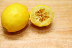 Lemon fruit on wooden table board background Stock Photography