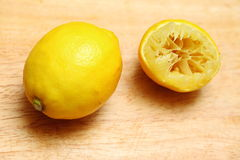 Lemon fruit on wooden table board background Royalty Free Stock Images