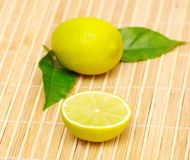 Lemon fruits with green leaves Royalty Free Stock Photos
