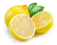 Lemon. Fruits with leaves isolated on white Stock Photography