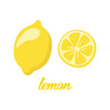 Lemon fruits poster in cartoon style depicting whole and half of fresh juicy citruses  on white background Royalty Free Stock Image