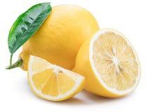 Lemon fruits and lemon slices on white background. Stock Photo