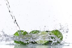 Lemon fruits and Splashing water Stock Photo