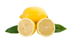 Lemon full and half with leaves Stock Photography