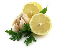 Lemon with garlic Stock Photo