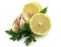 Lemon with garlic stock photo