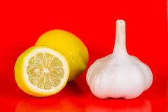 Lemon and garlic. Best protection and prevention against cold and sars Stock Images