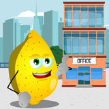 Lemon gesturing a call me sign in front of an office building Royalty Free Stock Photo