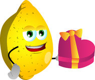 Lemon with gift for Valentines Day Royalty Free Stock Images