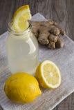 Lemon and Ginger Detox Drink in a Bottle Stock Photos