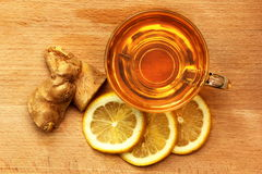 Lemon and ginger herbal tea. Stock Photo