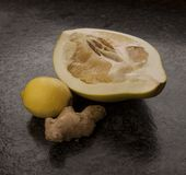 Lemon, ginger and Honey Pomelo lying in the kitchen royalty free stock photo